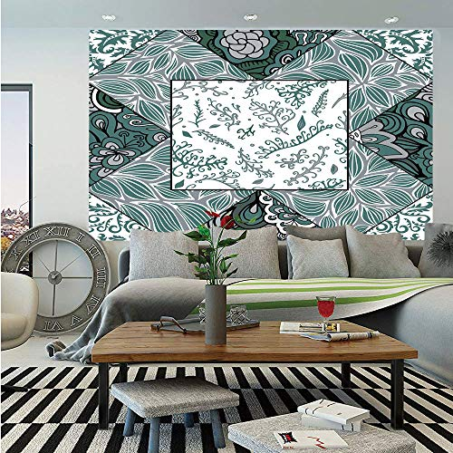 SoSung Boho Huge Photo Wall Mural,Shabby Chic Leaves in Mix Chevron Swirled Nature Branches Flower Print Decorative,Self-Adhesive Large Wallpaper for Home Decor 100x144 inches,Jade Green Grey White