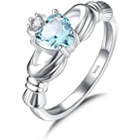 Blue Crystal Zirconia 925 Sterling silver Claddagh Ring for Women with Heart Shaped Stone Irish Jewelry
