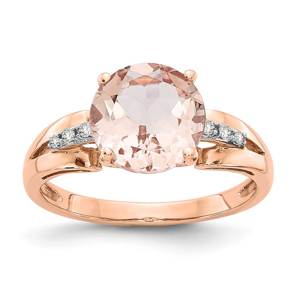 14k Rose Gold Diamond Pink Morganite Round Band Ring Size 7.00 Stone Gemstone Fine Jewelry Gifts For Women For Her