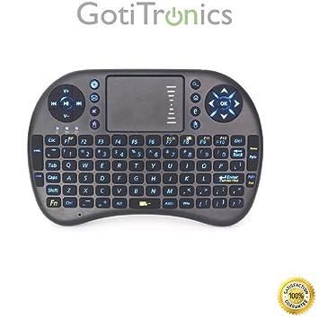 GotiTronics Mini Teclado Inalámbrico Multimedia con Retroiluminación del teclado, Ratón Táctil y Batería Recargable USB integrada para Android ...