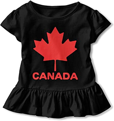 Canadian Flag Canada Maple Leaf Toddler//Infant Girls Short Sleeve T-Shirt Ruffles Shirt T-Shirt for 2-6T