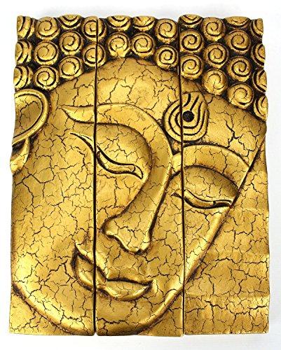 Hand Carved Wooden Thai Buddha Face Wall Art Plaque Hanging, Buddha Panels, Teak Dark Brown wood, Wall Art Hanging Handmade, Wall Home Décor Collectible