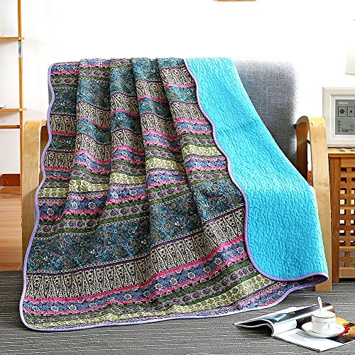 NEWLAKE Quilt Throw Blanket with Reversible Floral Patchwork, Blue Jacquard, 60X78 Inch ()