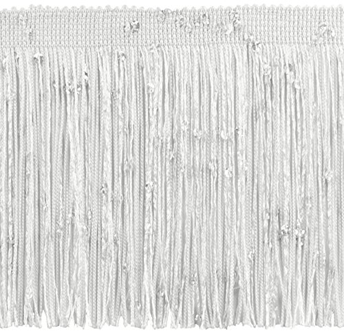 DÉCOPRO 11 Yard Value Pack of 4 Inch Chainette Sequin Fringe Trim, CFS04 Color: White - A1 (32.5 Feet / 10M)