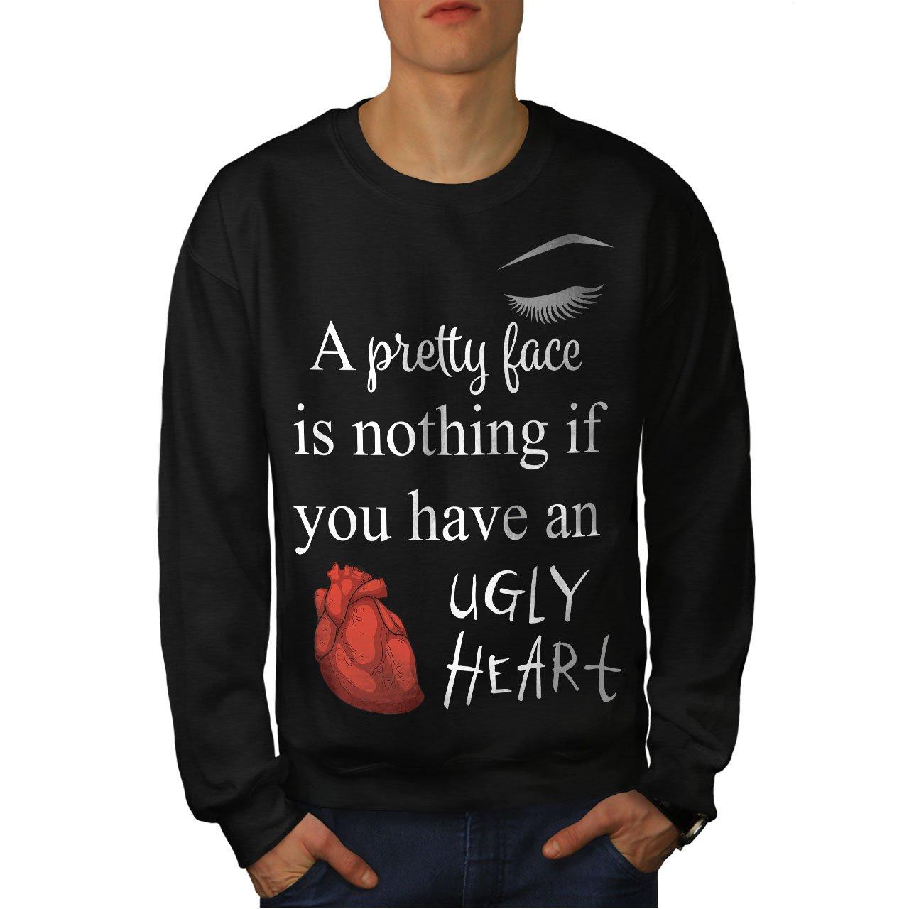 Joke Casual Jumper wellcoda Pretty Face Ugly Heart Mens Sweatshirt