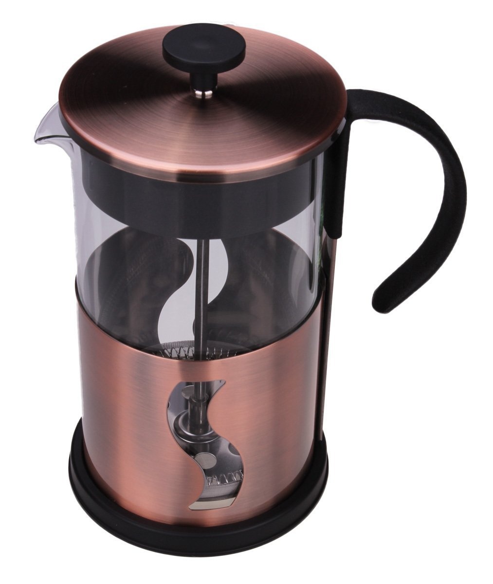 Gourmet 1 Liter Matte Copper French Press Coffee Brewer with S Shaped Design Clever Chef