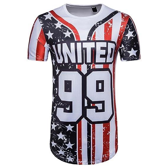 Camisetas Con Estampado De Americano Bandera Hombre Futbol LHWY, Remera Talla Grande Camisetas Suelto Cuello