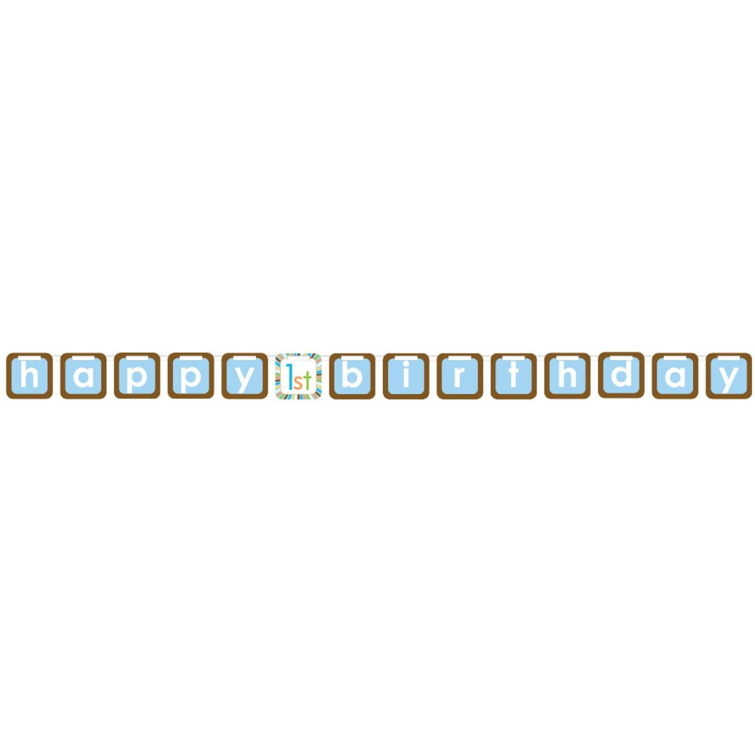 Pack of 12 Sweet At One Boy Happy Birthday Blue and Brown Ribbon Banners 8'