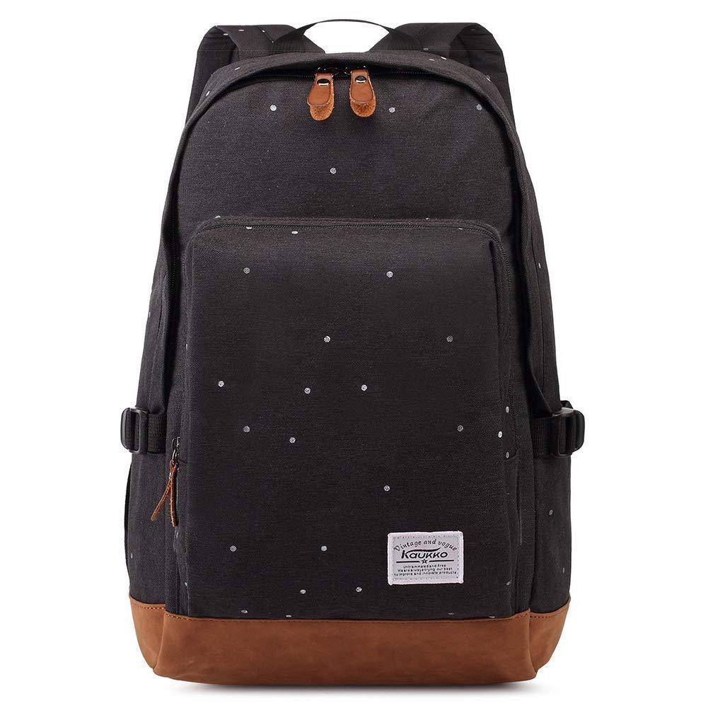 Black2 Stylish School Bookbag Kaukko College Student Laptop Backpacks fit 14  Laptops(51BLACK)
