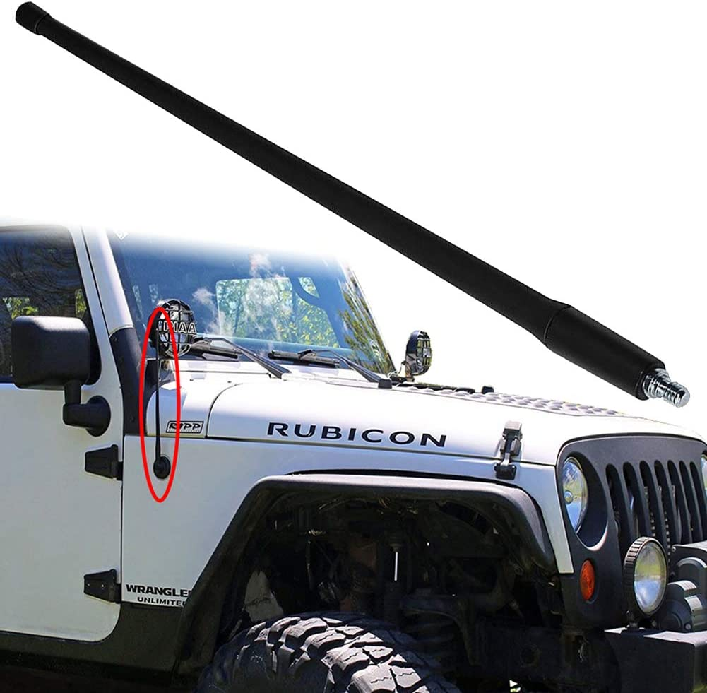 4 inches-Black JAPower Replacement Antenna Compatible with Jeep JK Wrangler 2007-2017