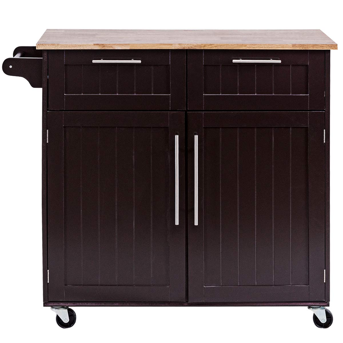 Giantex Kitchen Island Cart Rolling Storage Trolley Cart Home and Restaurant Serving Utility Cart with Drawers,Cabinet, Towel Rack and Wood Top by Giantex (Image #6)