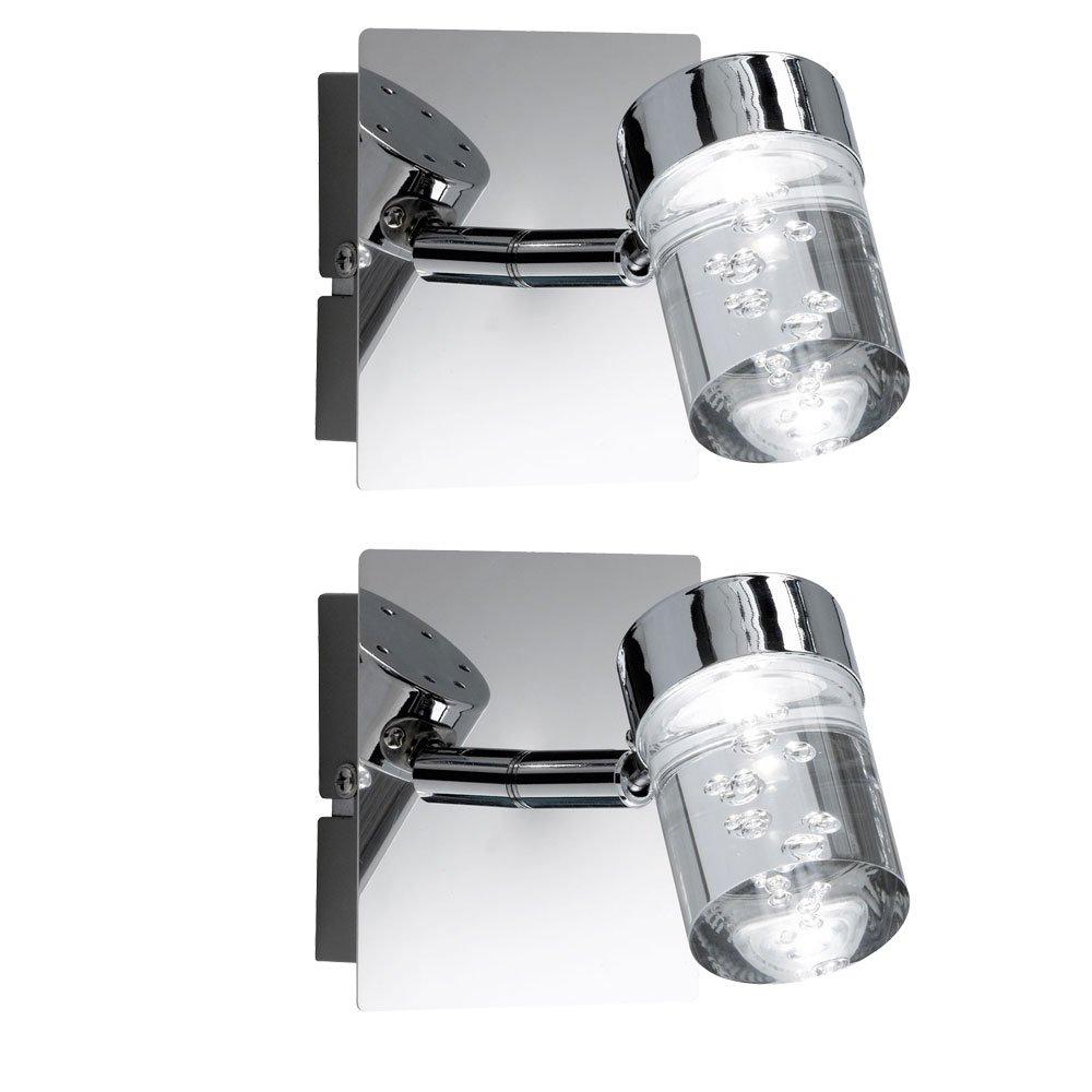 Lot de 2applique murale LED boîtier de chrome bulles plancher de projecteur spot EEK A+ WOFI [Classe énergétique A+] etc-shop