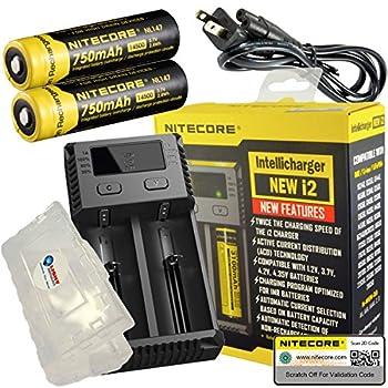 Nitecore NEW i2 2016 Intellicharger Smart Battery Charger for Li-ion IMR Ni-MH NiCd + 2x Nitecore 14500 750mAh (NL147) + Battery Case