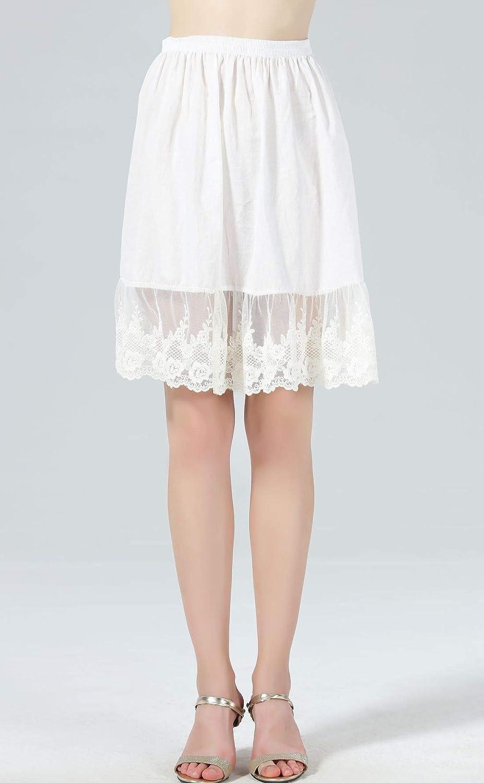 Femme Jupon Dentelle Lingerie sous-Jupe Robe Coton Blanc Noir Ivoire Court  Mi-Long f0027293d0e5