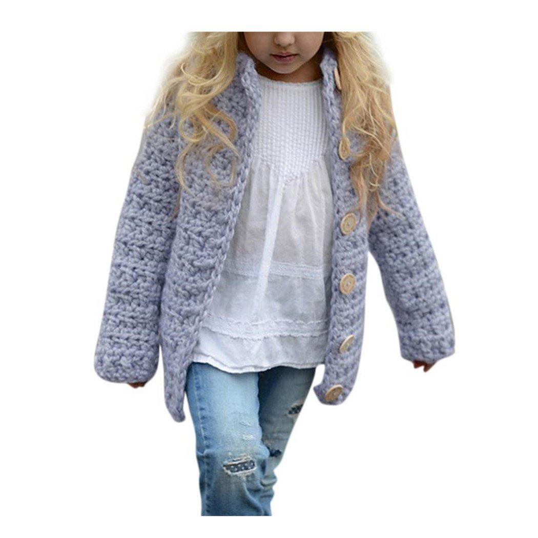 Anxinke Little Girls Button Down Knitted Sweaters Cardigan Sweaters (Size:5T)