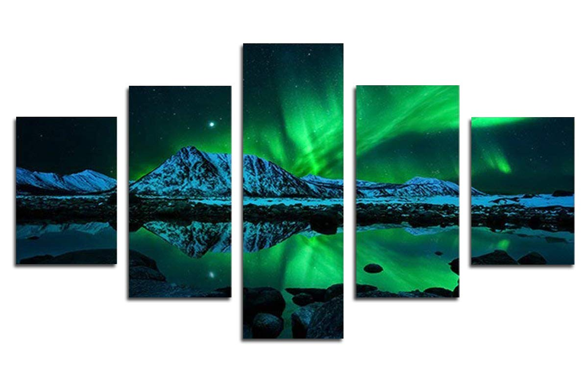 Blxecky DIY 5D Diamond Painting Cross Stitch Crafts Kit, 5 sets of splicing paintings. Home living room decoration. aurora by Blxecky (Image #1)