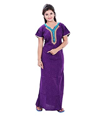 TRUNDZ Fancy Embroidered Purple Cotton Nighty Full Length  eb943a8a5