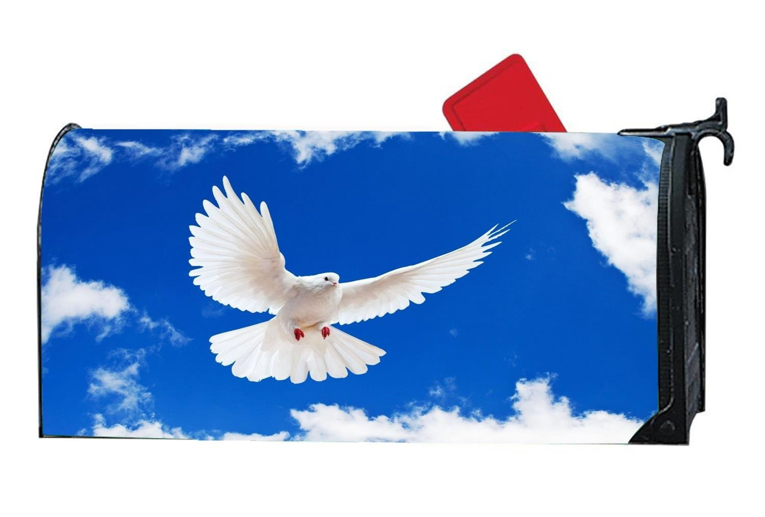 White Dove Peace Mailbox Cover Magnetic Personalized MailWrap Mailbox Makeover Cover Vinyl with Full-Surface Magnet on Back 6.5 x 19 Inches