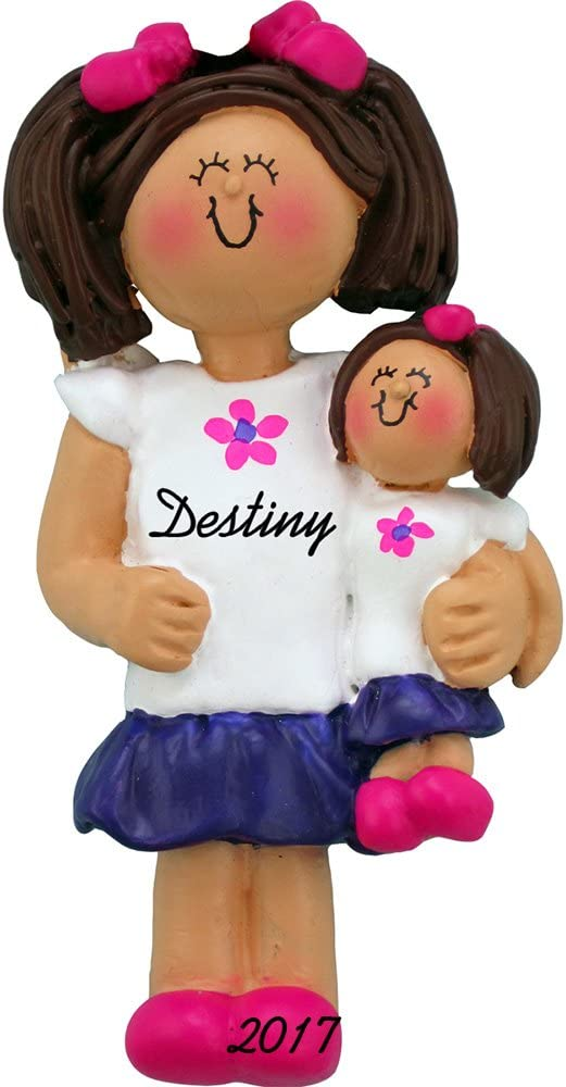 Free Customization Handpainted Resin Calliope Designs Girl with Doll Personalized Christmas Ornament 3.5 Tall