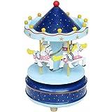 Starsource Wooden Merry Go Round Carousel Horse Dancing Music Box, Christmas Birthday Gift to Kids Boys Girls