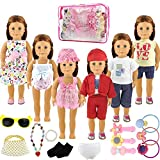 #10: Holicolor 20pcs American Girl Doll Clothes Dress Outfits Wardrobe Makeover, Including 6 Complete Outfits, Fits 18