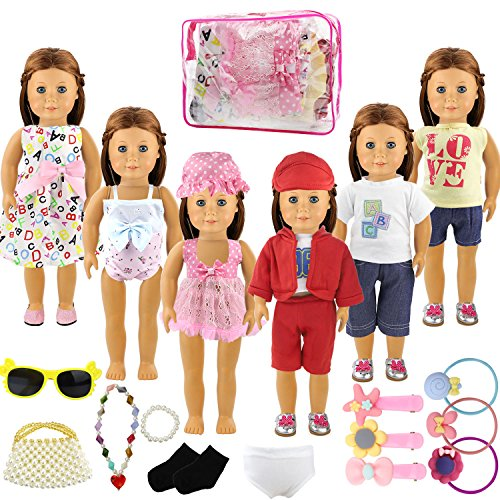 Holicolor 20pcs American Girl Doll Clothes Dress Outfits Wardrobe Makeover, Including 6 Complete Outfits, Fits 18