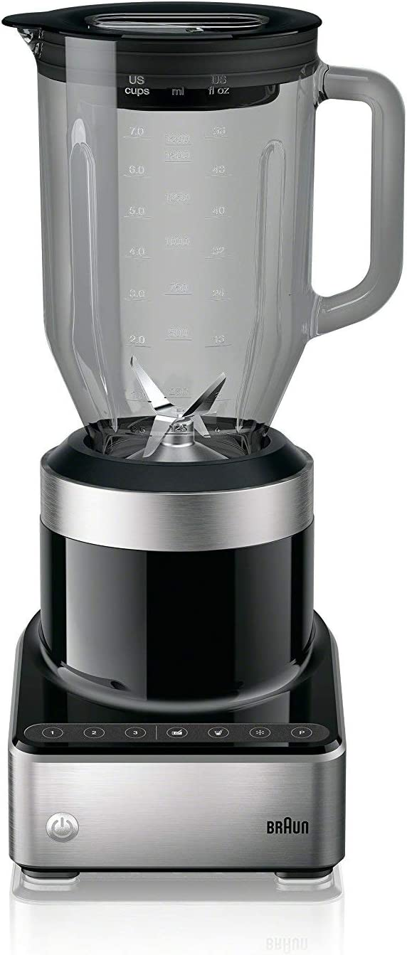 Braun PureMix Power Blender with Thermal Resistant Glass Jug - JB7350 - 1000 Watt - Black (Renewed)