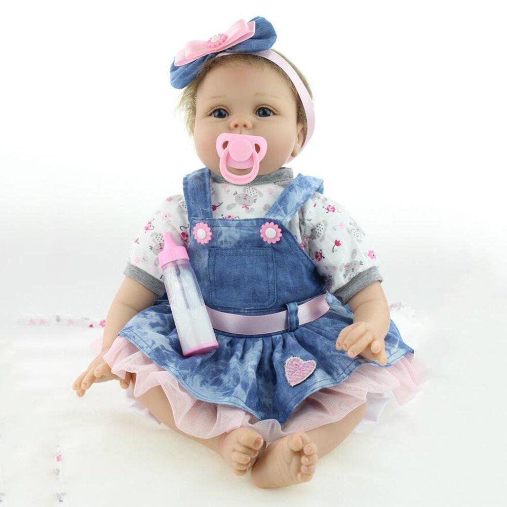 そっくり人形Reborn Babyシミュレーションソフトシリコンビニール磁気口Eyes Open withキュートスカートBoy Girl Toy 21.6インチourdream   B07BTDHC7P
