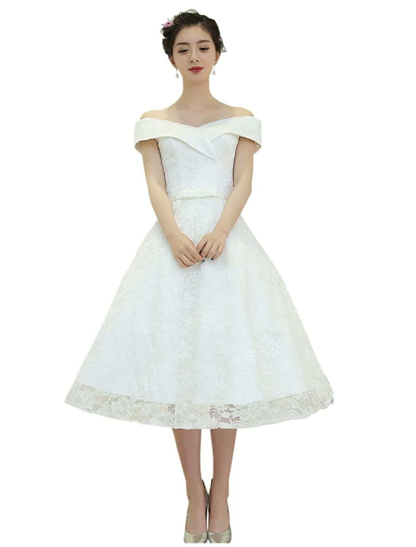 Engerla Women's Tea Length Lacy Off-shoulder Floral A-Line Bow Sash Wedding Dress