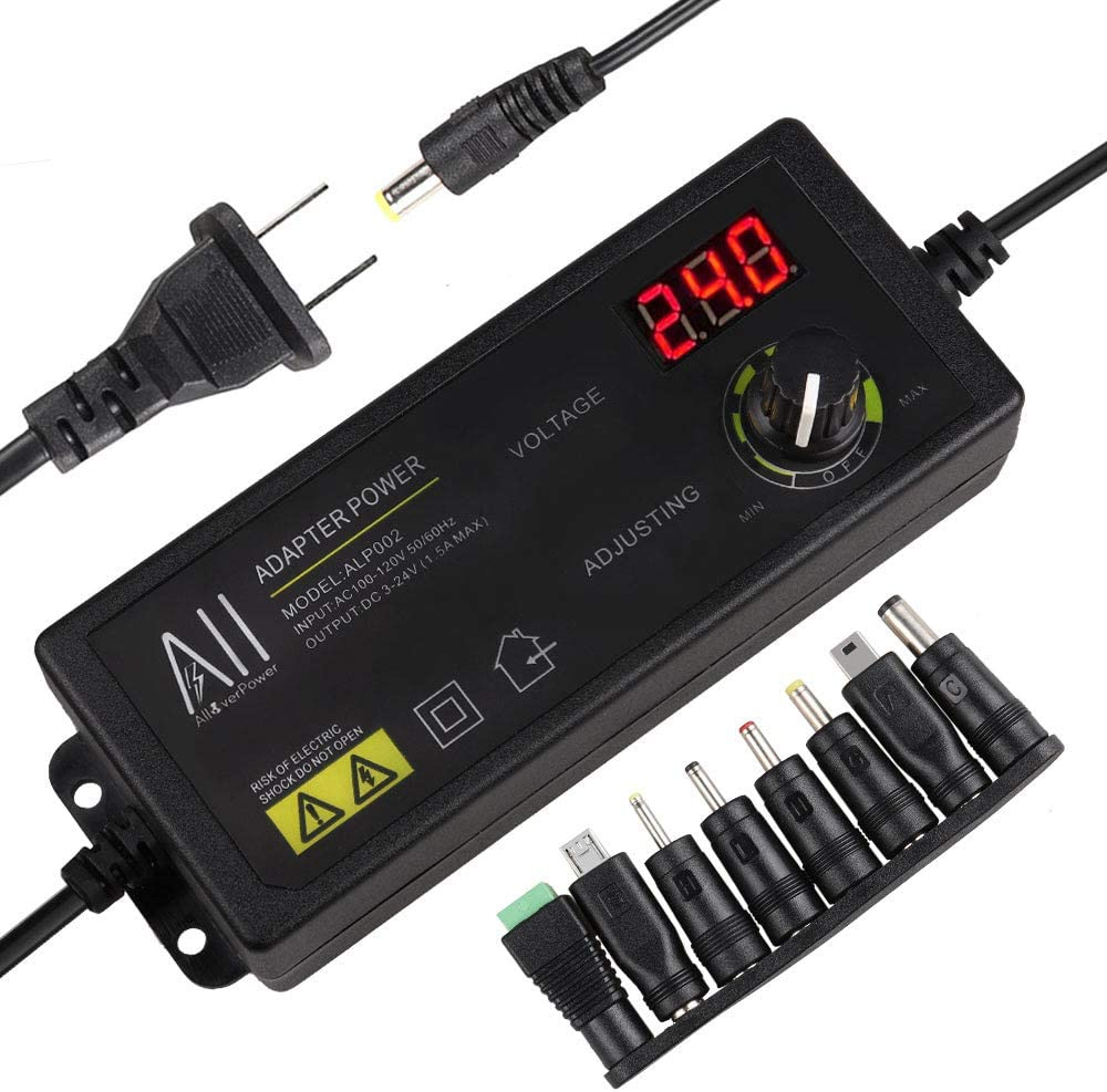 AlloverPower 3V - 24V 1.5A 36W Adjustable DC Power Supply Kit Adapter Speed Control Volt Display/ON Off Switch with Variable 8 Plugs