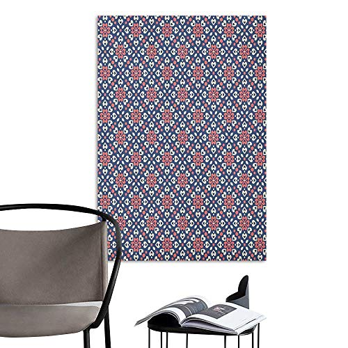 Wall Mural Wallpaper Stickers Abstract Floral Hearts Forming Old Fashioned Mosaic Tiles Shabby Chic Pattern Night Blue Ivory Coral Living Room Wallpaper W20 x H28