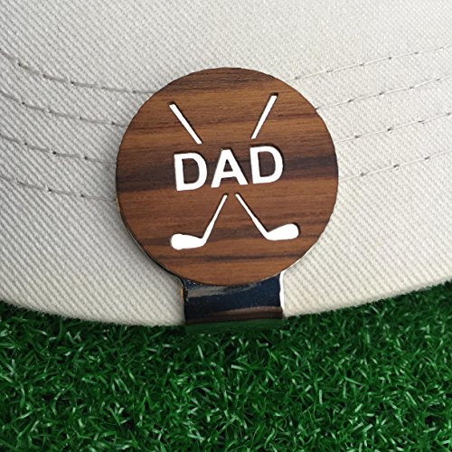 (The Quintessential Hostess DAD Engraved Golf Hat Clip and Ball Marker Teak Personalized for Dad Father's Day Gift)