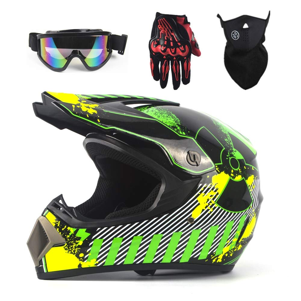 Occhiali Guanti MOTUO Casco da Moto per Bambini Casco da Enduro Casco Trasversale per Quad ATV BMX ATV compresi caschi Maschera