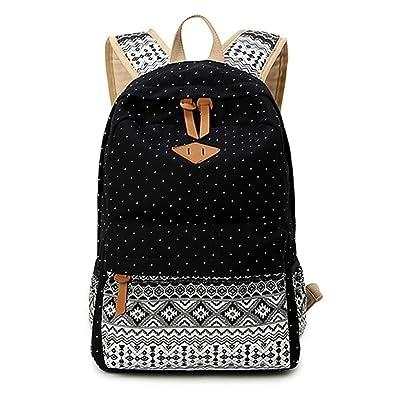 c6625e9c8454 Mogor Cute Lightweight Canvas Bookbags School Backpacks for Teen ...
