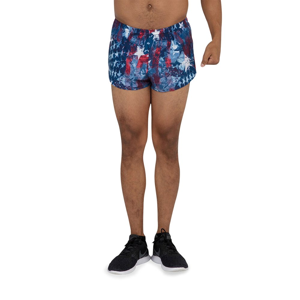 BOA Mens Stretch 1 Elite Split Printed Running Short Liberty, Medium 1000SWP