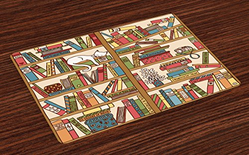 Ambesonne Cat Place Mats Set of 4, Nerd Book Lover Kitty Sleeping Over Bookshelf Library Academics Feline Boho Design, Washable Fabric Placemats for Dining Table, Standard Size, Brown Pink