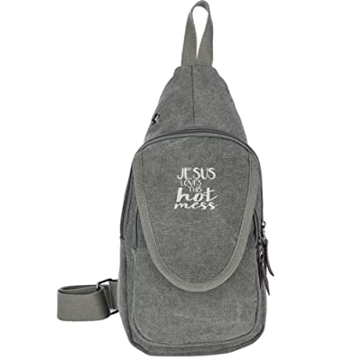 chic Jesus Loves This Hot Mess Fashion Men's Bosom Bag Cross Body New Style Men Canvas Chest Bags