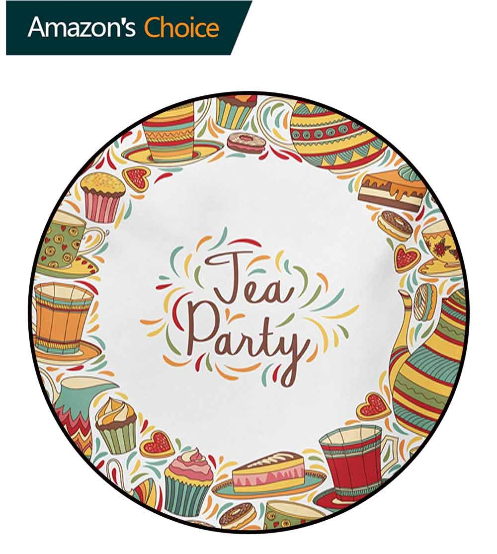 RUGSMAT Tea Party Non-Slip Area Rug Pad Round,Cartoon Drawing Style Kitchenware and Tea Party Items Cups Pots Colorful Design Protect Floors While Securing Rug Making Vacuuming,Diameter-71 Inch