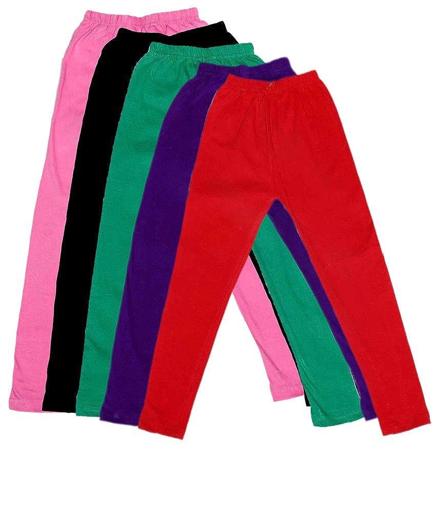/_Black::Blue::Purple::Multiple Pack of 5 Indistar Girls Super Soft Ankle Length Cotton Lycra Leggings