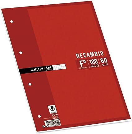 Enri 740074 - Pack de 100 hojas de papel recambio, cuadrícula 4 x 4: Amazon.es: Oficina y papelería
