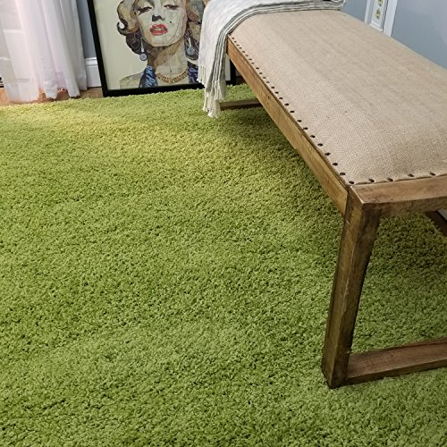 Soft Shag Area Rug 5' x 7' (5 feet by 7 feet) Plain Solid Color GREEN Shaggy Rug - Living Bedroom Kitchen Modern Shaggy Rugs