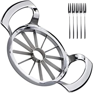 Vanleonet Apple Slicer, apple cutter Upgraded Version 12-Blade Extra Large Apple Corer, 304 Stainless Steel Heavy Duty Commercial Apple Corer and Divider, Pitter, Divider for Up to 4 Inches Apples