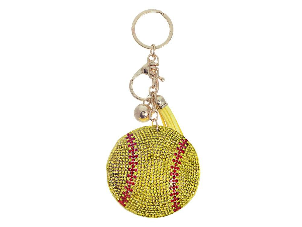 Occasions Gift Giving Tassel Bling Faux Suede Stuffed Pillow Key Chain Handbag Charm (Softball)