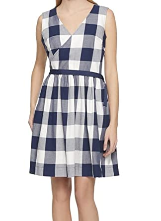 7ad314ff22f52 Tommy Hilfiger Womens Check Print Side Tie Wrap Dress at Amazon Women's  Clothing store: