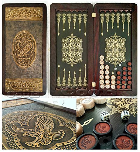 21'' Golden Eagle Russian Luxury Backgammon Set. Leather Pieces. Tournament Board