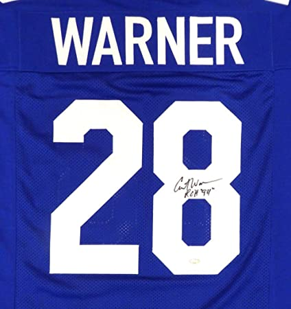 Hot Seattle Seahawks Curt Warner Autographed Blue JerseyROH 94 MCS  free shipping