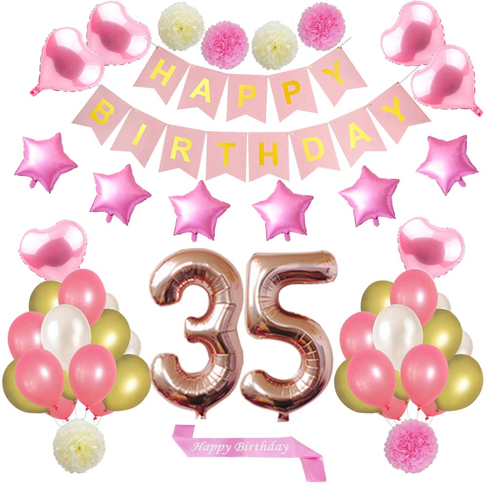 Amazon.com: 35 adornos de oro rosa para cumpleaños con ...