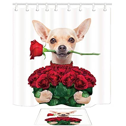 Yaoni Valentines Wedding Shower Curtain Bath Rugs Bathroom Lovely Chihuahua Dog Rose In White