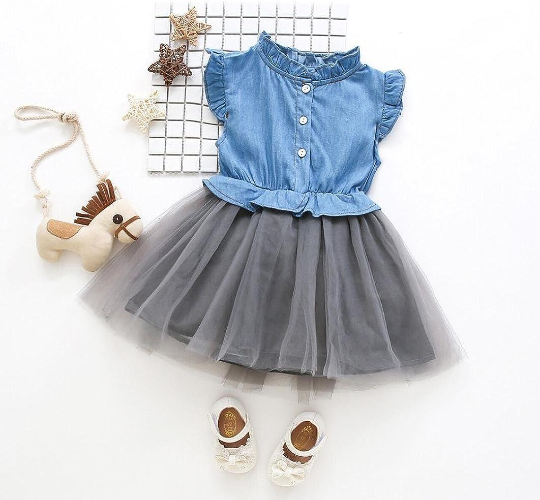 JERFER Kleinkind Baby M/ädchen Denim Kleid Sleeveless Prinzessin Tutu Kleid Cowboy Kleidung