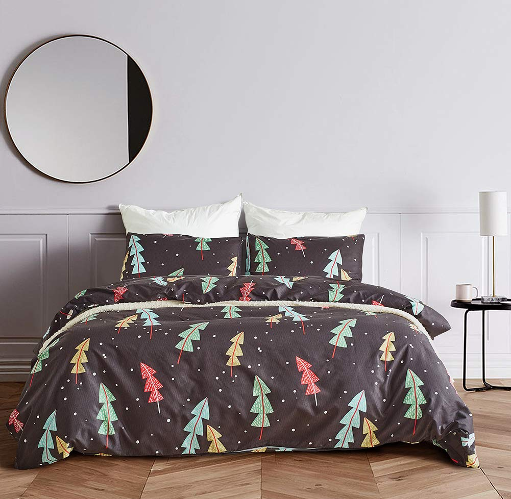 Tree and Snow Printed Bedding Set for Boys Girls Women Men (Black/Queen)